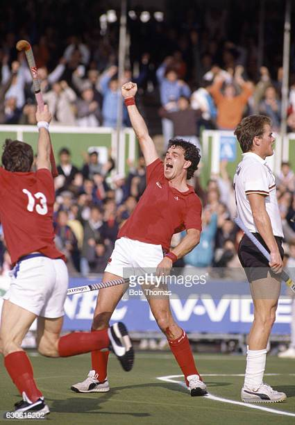 Paul Barber of England celebrates after scoring the second goal during the Semi-Final of the World Hockey Cup for Men in their match against West...