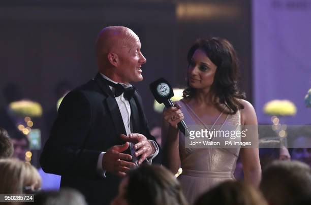 Paul Bastock who has made 1274 competitive football appearances speaks to Seema Jaswal during the 2018 PFA Awards at the Grosvenor House Hotel London...