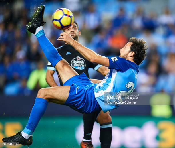 Paul Baysse of Malaga CF in action during the La Liga match between Malaga and Celta de Vigo at Estadio La Rosaleda on October 29 2017 in Malaga Spain