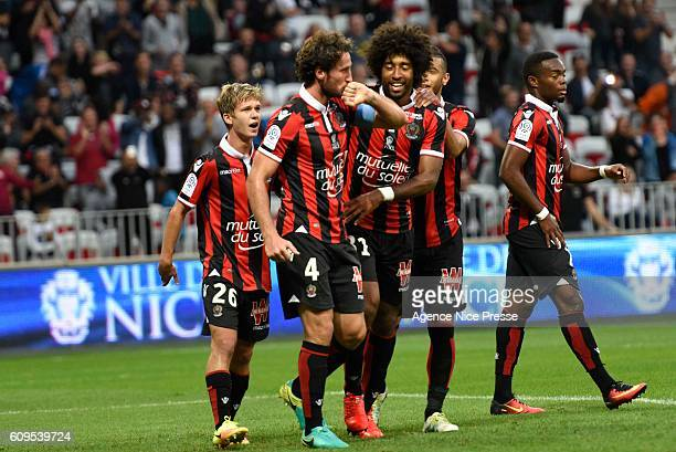 Paul Baysse of Nice celebrates scoring his goal during the Ligue 1 match between OGC Nice and AS Monaco at Allianz Riviera on September 21 2016 in...