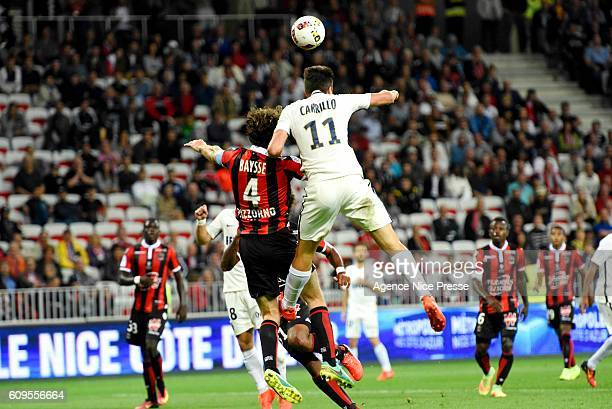Paul Baysse of OGC Nice and Guido Carrillo of Monaco during the Ligue 1 match between OGC Nice and AS Monaco at Allianz Riviera on September 21 2016...