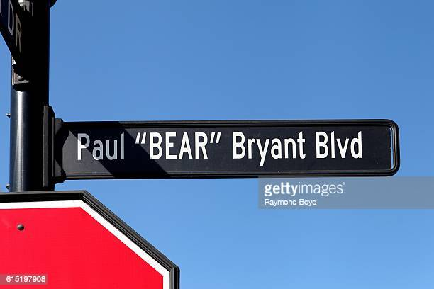 Paul 'Bear' Bryant Boulevard sign outside Liberty Bowl Memorial Stadium home of the Memphis Tigers football team in Memphis Tennessee on October 3...
