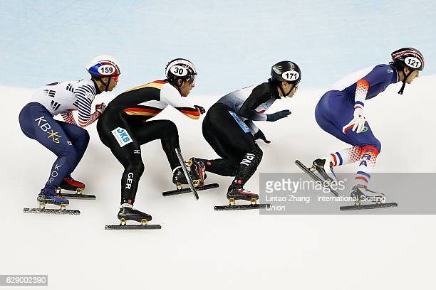 Paul Beauchamp of France Kei Saito of Japan Da Woon Sin of Korea and Felix Spiegl of Germany competes in the men's 500m Quarterfinals on day two of...
