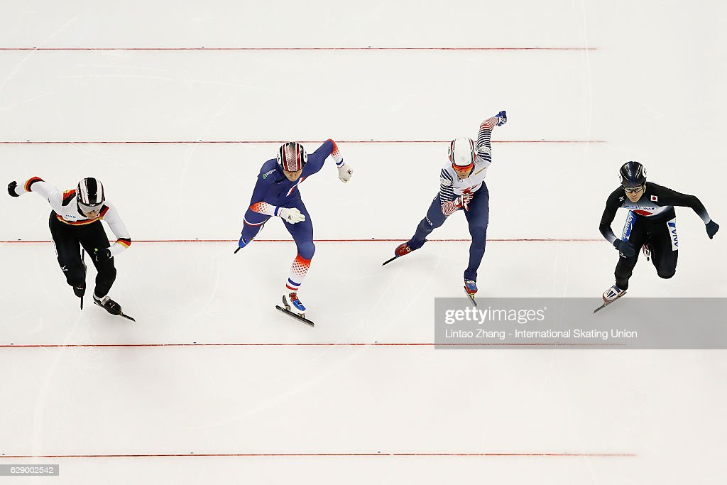 Paul Beauchamp of France, Kei Saito of Japan, Da Woon Sin of Korea and Felix Spiegl of Germany competes in the men's 500m Quarterfinals on day two of the ISU World Cup Short Track speed skating event at the Oriental Sports Center on December 11, 2016 in Shanghai, China.