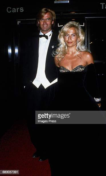 Paul Beck and Donatella Versace at the Moda Italia Gala promoting Italian trade circa 1989 in New York City