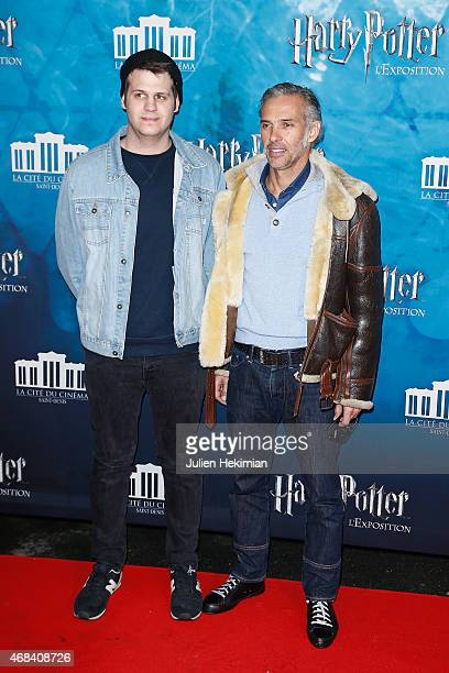 Paul Belmondo and guest attend 'Harry Potter The Exhibition' at La Cite Du Cinema on April 2 2015 in SaintDenis France