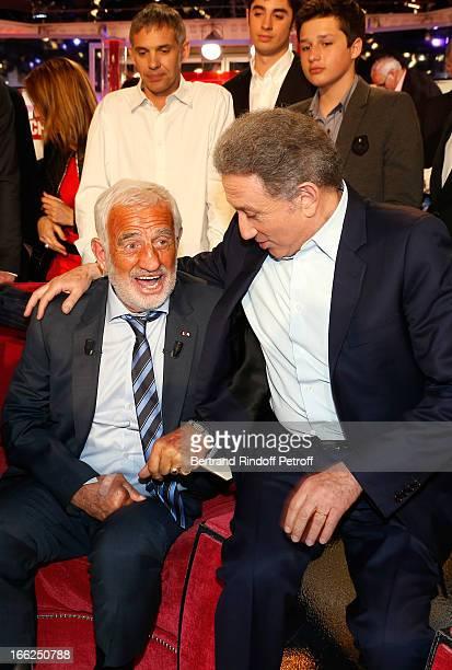 Paul Belmondo Christopher Waters Giacomo Belmondo JeanPaul Belmondo and Michel Drucker attend 'Vivement Dimanche' French TV Show for the 80th...