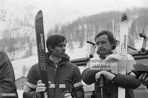 Paul Belmondo et JeanClaude Killy à Val d'Isère France le 10 décembre 1982