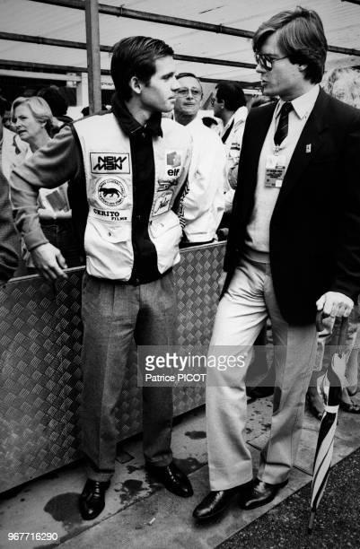 Paul Belmondo et Robertino Rossellini lors du Grand-Prix de Monaco le 16 mai 1983, Monte Carlo.
