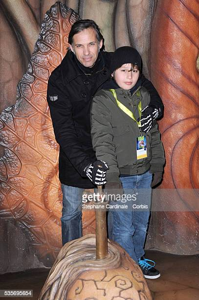 Paul Belmondo with his son Giacomo attend Arthur 4D Opening Attraction in Poitiers