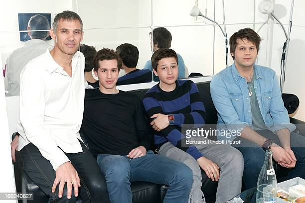 Paul Belmondo with his sons Victor Giacomo and Alessandro attend 'Vivement Dimanche' French TV Show for the 80th anniversary of JeanPaul Belmondo at...