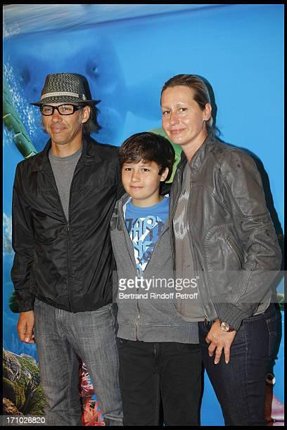 Paul Belmondo with his wife Luana and their son Giacomo at Premiere Of Film Le Voyage Extraordinaire De Samy At Cinema Gaumont Opera In Paris