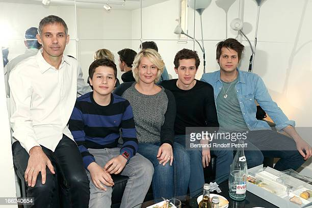 Paul Belmondo with his wife Luana Belmondo and their sons Giacomo Victor and Alessandro attend 'Vivement Dimanche' French TV Show for the 80th...