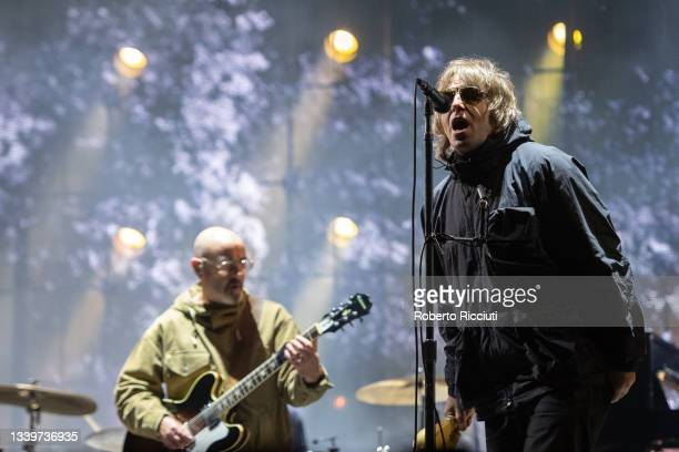 Paul Benjamin Arthurs, aka Bonehead, and Liam Gallagher perform on the Main Stage on the second day of TRNSMT Festival 2021 on September 11, 2021 in...