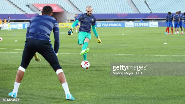 Paul Bernardoni of France and Alban Lafont warm up before the FIFA U20 World Cup Korea Republic 2017 Round of 16 match between France and Italy at...