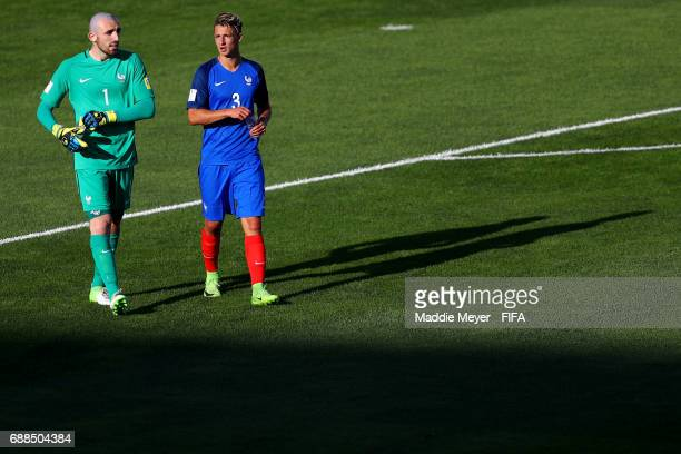 Paul Bernardoni of France and Olivier Boscagli talk during half time of the FIFA U20 World Cup Korea Republic 2017 group E match between France and...