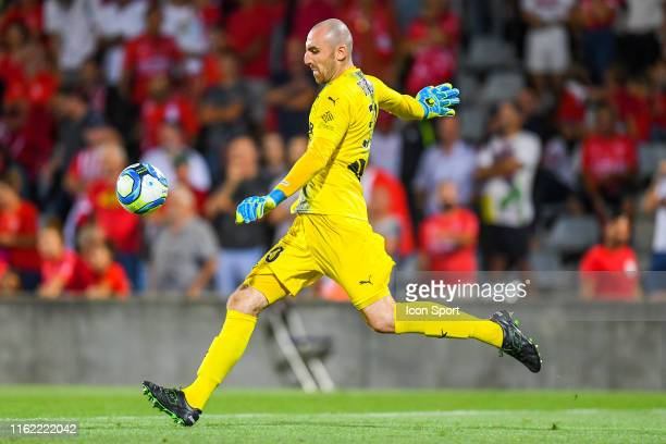Paul Bernardoni of Nimes during the Ligue 1 match between Nimes Olympique and OGC Nice at Stade des Costieres on August 17, 2019 in Nimes, France.