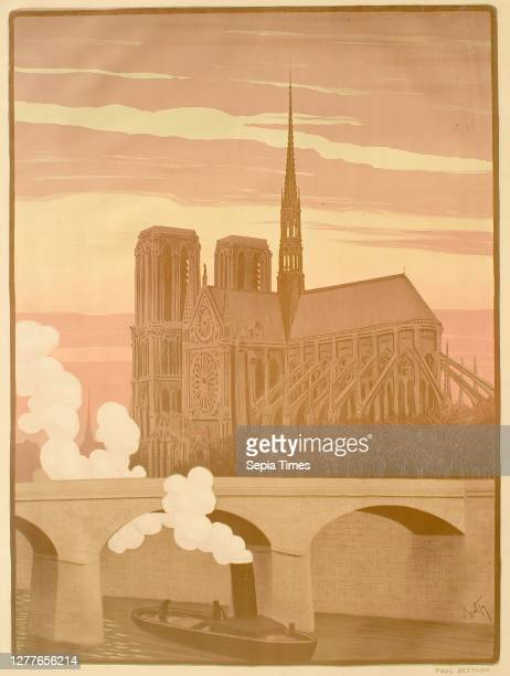 Paul Berthon, French, 1872–1909, The Apse of Notre Dame de Paris Seen from the Seine Lithograph with three stones on paper, image: 22 5/16 x 16 1/2...