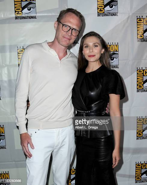 Paul Bettany and Elizabeth Olsen attend the Marvel Studios Panel during 2019 Comic-Con International at San Diego Convention Center on July 20, 2019...