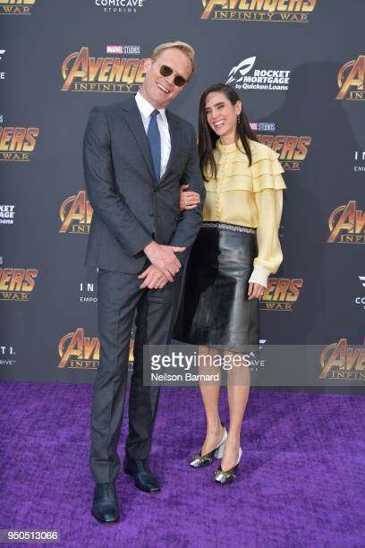 Paul Bettany and Jennifer Connelly arrive at the Premiere Of Disney And Marvel's 'Avengers Infinity War' on April 23 2018 in Los Angeles California