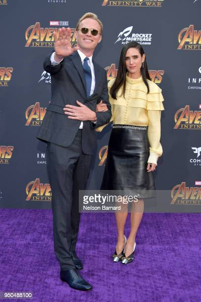 Paul Bettany and Jennifer Connelly attend the premiere of Disney and Marvel's 'Avengers Infinity War' on April 23 2018 in Los Angeles California