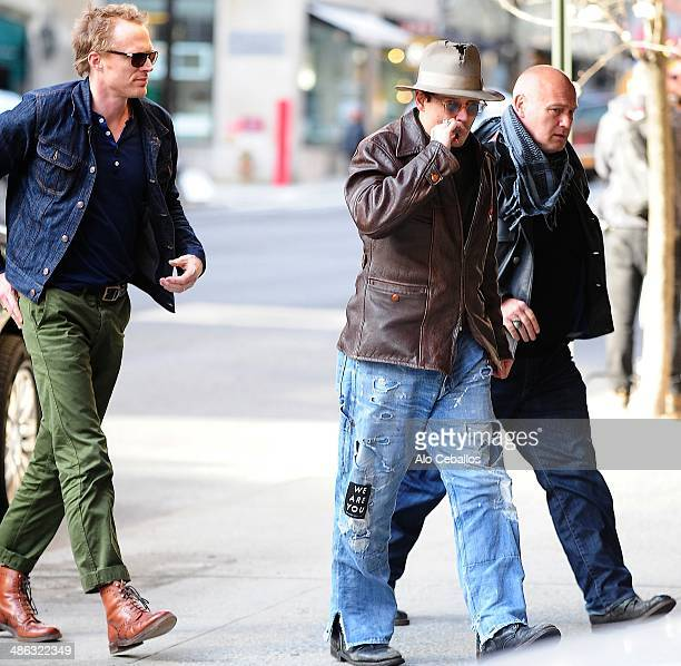 Paul Bettany and Johnny Depp are seen on Madison Avenue on April 23 2014 in New York City