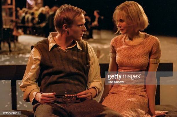 Paul Bettany and Nicole Kidman on the set of DogvilleDirected by Lars von Trier Sweden 2002
