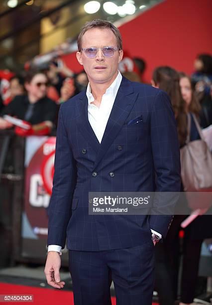 Paul Bettany arrives for European Premiere 'Captain America Civil War' at Vue Westfield on April 26 2016 in London England