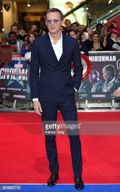 Paul Bettany arrives for the European film premiere of 'Captain America Civil War' at Vue Westfield on April 26 2016 in London England
