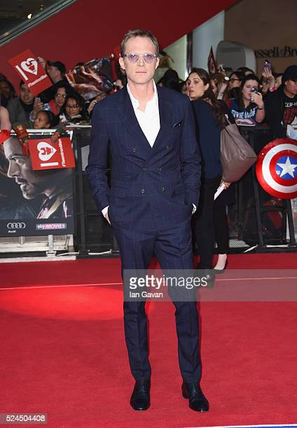 Paul Bettany arrives for UK film premiere Captain America Civil War at Vue Westfield on April 26 2016 in London England