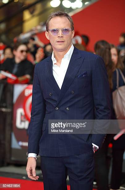Paul Bettany arrives for UK film premiere 'Captain America Civil War' at Vue Westfield on April 26 2016 in London England