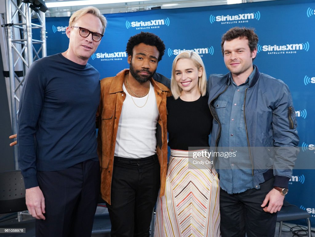 Paul Bettany, Donald Glover, Emilia Clarke and Alden Ehrenreich take part in SiriusXM's Town Hall with the cast ofÊSolo: A Star Wars Story hosted by SiriusXM's Dalton Ross at SiriusXM Studios on May 21, 2018 in New York City.