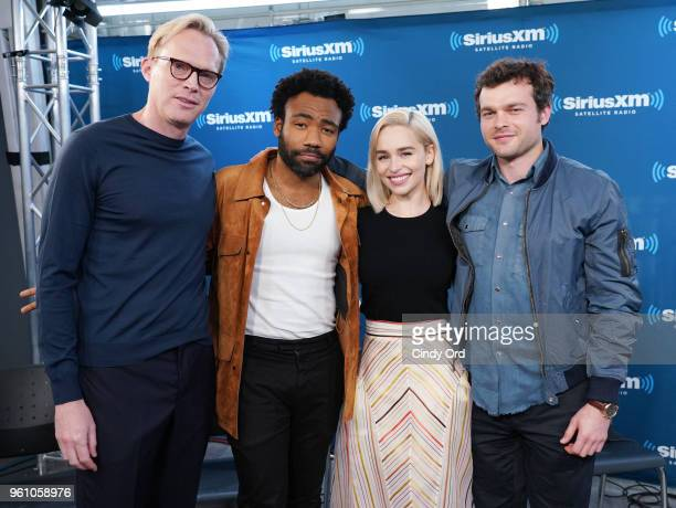 Paul Bettany Donald Glover Emilia Clarke and Alden Ehrenreich take part in SiriusXM's Town Hall with the cast ofÊSolo A Star Wars Story hosted by...