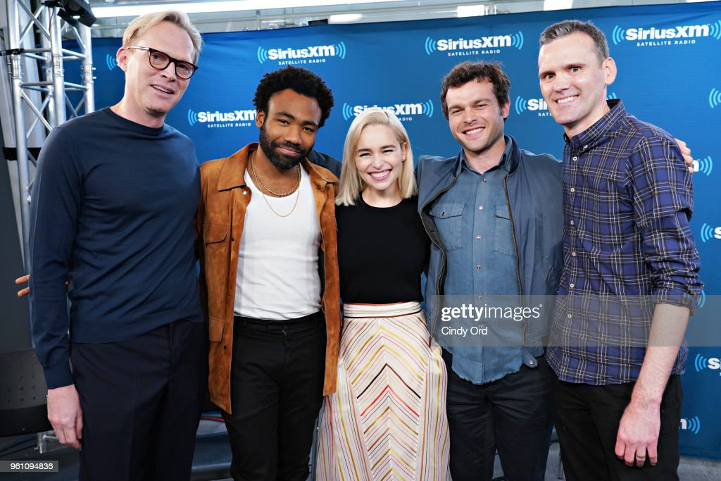 Paul Bettany, Donald Glover, Emilia Clarke and Alden Ehrenreich take part in SiriusXM's Town Hall with the cast of Solo: A Star Wars Story hosted by SiriusXM's Dalton Ross at SiriusXM Studios on May 21, 2018 in New York City.