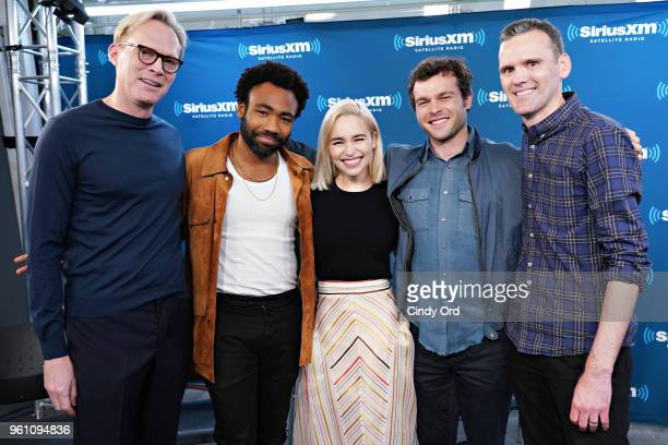 Paul Bettany Donald Glover Emilia Clarke and Alden Ehrenreich take part in SiriusXM's Town Hall with the cast of Solo A Star Wars Story hosted by...