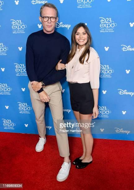 Paul Bettany, Elizabeth Olsen attend D23 Disney+ showcase at Anaheim Convention Center on August 23, 2019 in Anaheim, California.