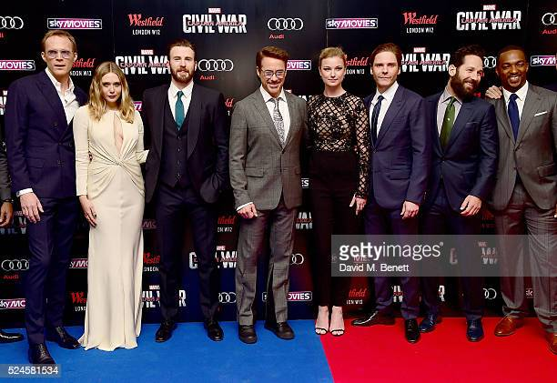 Paul Bettany Elizabeth Olsen Chris Evans Robert Downey Jr Emily VanCamp Daniel Bruhl Paul Rudd and Anthony Mackie attend the European Premiere of...