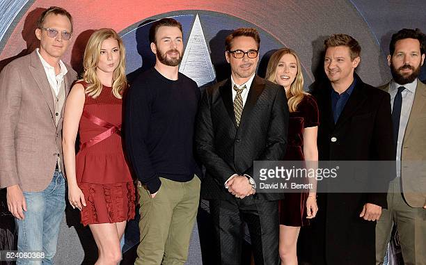 Paul Bettany Emily VanCamp Chris Evans Robert Downey Jr Elizabeth Olsen Jeremy Renner and Paul Rudd at a photocall for 'Captain America Civil War' at...