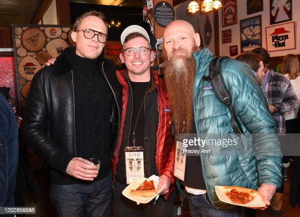 Paul Bettany of 'Uncle Frank' and Brian Morrison and Mark Stafford of 'Bastard's Road' attend the Pizza Hut x Legion M Lounge during Sundance Film...