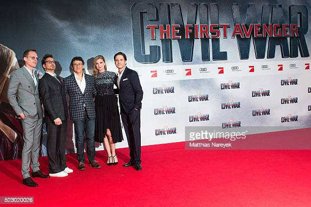 Paul Bettany Robert Downey Jr Anthony Russo Emily VanCamp and Daniel Bruehl attend the 'The First Avenger Civil' War Berlin Premiere at Sony Centre...
