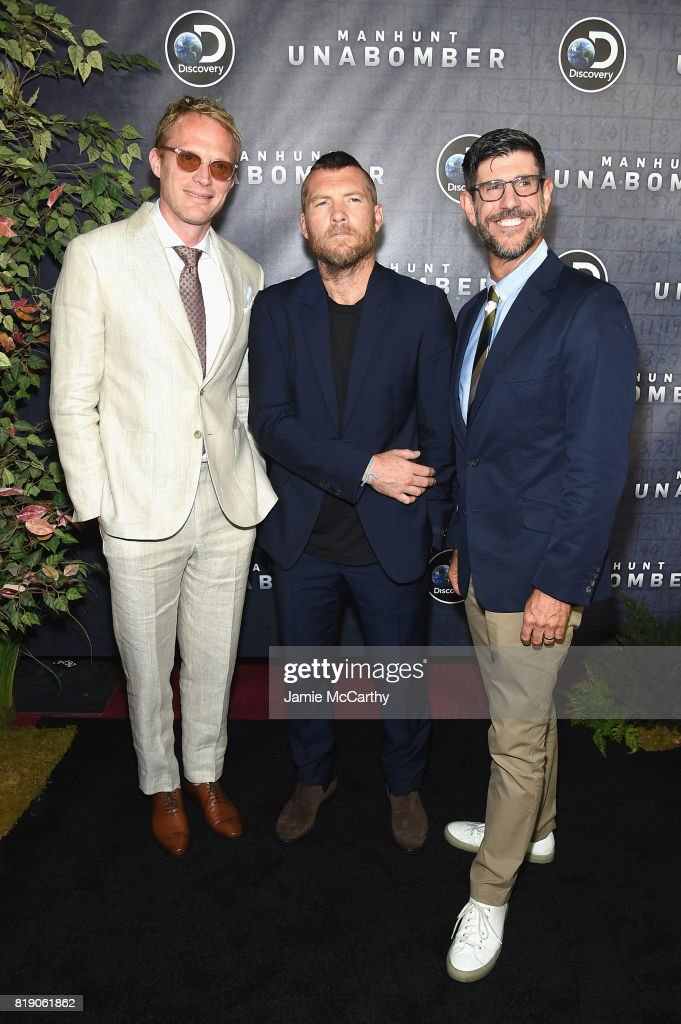 Paul Bettany, Sam Worthington and Group President, Discovery Rich Ross attend the Discovery's 'Manhunt: Unabomber' World Premiere at the Appel Room at Jazz at Lincoln Center Frederick P. Rose Hall on July 19, 2017 in New York Cit