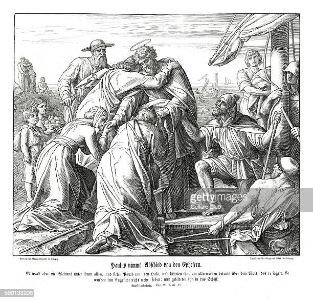 Paul bids farewell to the Ephesians, Acts chapter XX verses 37 - 38 'And they all wept sore, and fell on Paul's neck, and kissed him, Sorrowing most...