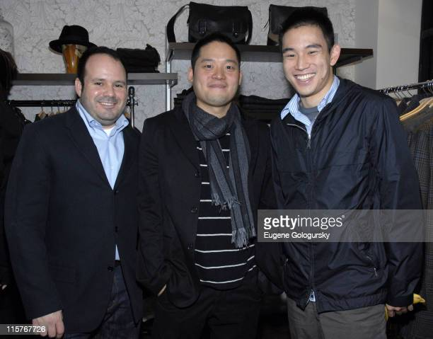Paul Birardi Eddy Chai and Eugene Tong during Oliver Spencer New York Store Opening at Oliver Spencer Store in New York City New York United States