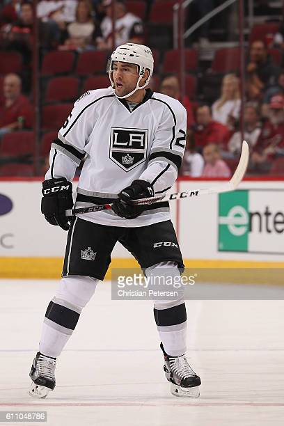 Paul Bissonnette of the Los Angeles Kings in action during the preseason NHL game against the Arizona Coyotes at Gila River Arena on September 26...