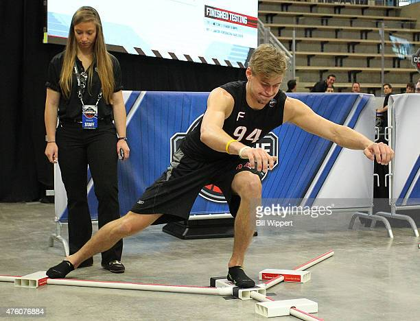 Paul Bittner performs a balance test during the NHL Combine at HarborCenter on June 6 2015 in Buffalo New York