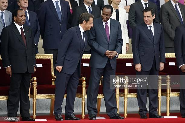 Paul Biya, Nicolas Sarkozy, Blaise Compaore, Francois Fillon in Paris, France on July 14th, 2010.