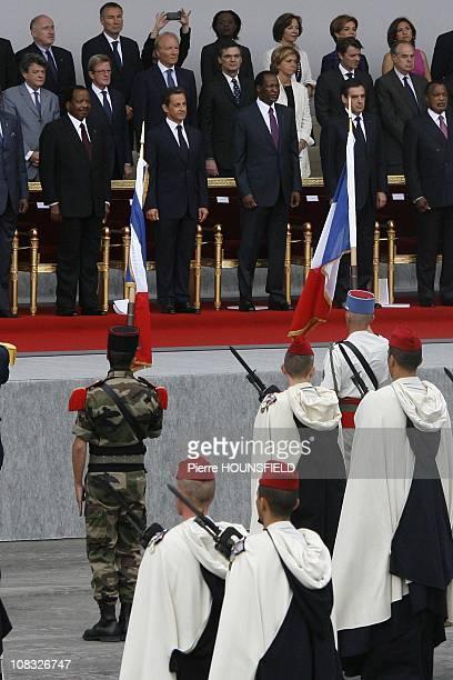 Paul Biya, Nicolas Sarkozy, Blaise Compaore, Francois Fillon, Sassou Nguesso in Paris, France on July 14th, 2010.