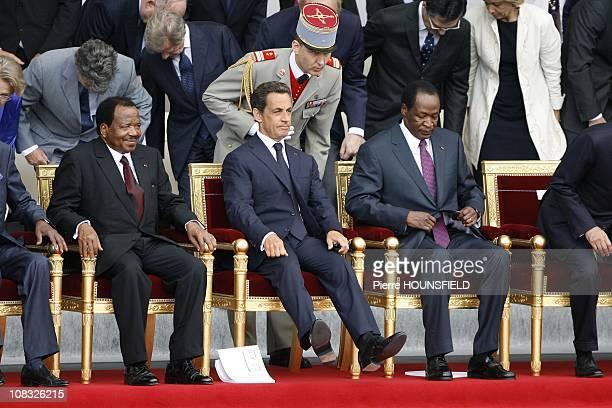 Paul Biya, Nicolas Sarkozy, Blaise Compaore in Paris, France on July 14th, 2010.