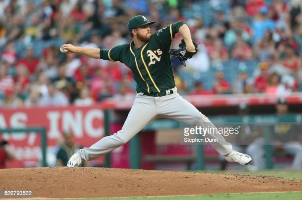 Paul Blackburn of the Oakland Athletics throws a pitch in the third inning against the Los Angeles Angels of Anaheim at Angel Stadium of Anaheim on...