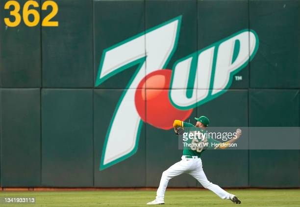 Paul Blackburn of the Oakland Athletics warms up prior to the start of the game against the Seattle Mariners at RingCentral Coliseum on September 21,...